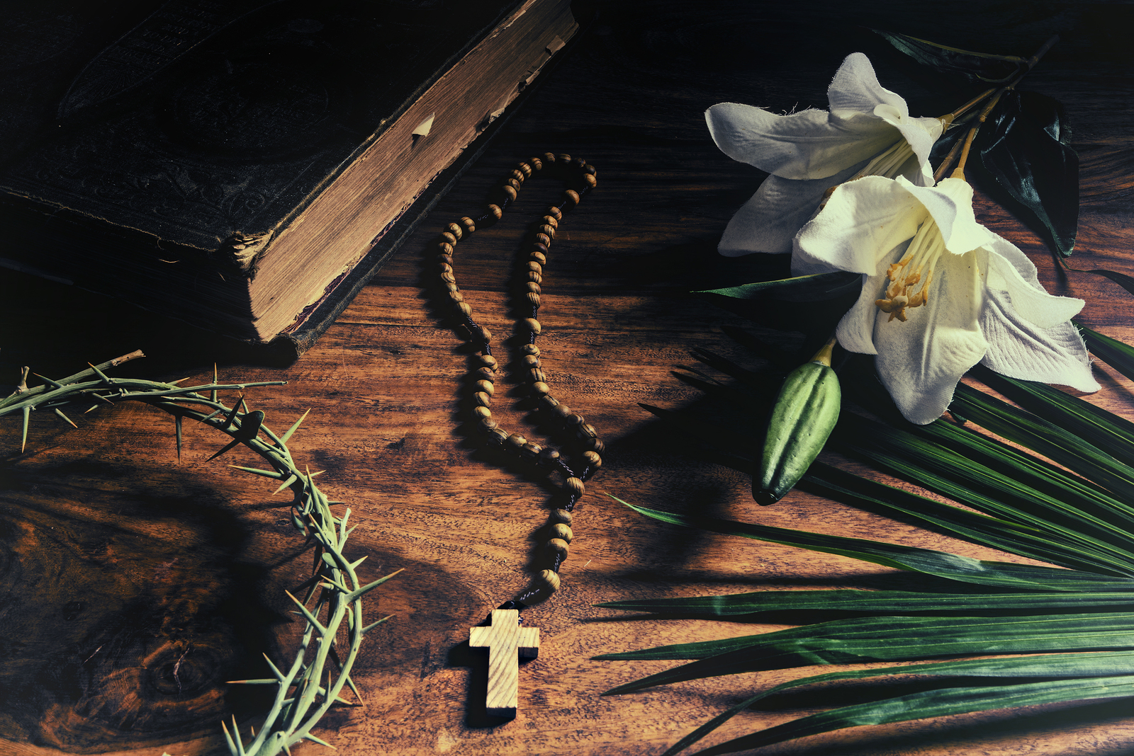 The Triumph Passion Crucifixion and Resurrection. Iconic Christian symbols representing events from Palm Sunday to Easter rest upon a rustic table along with a 19th century antique bible - palm branch crown of thorns cross and white lily.