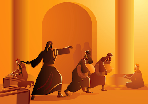 Biblical vector illustration series, Jesus cleanses the temple